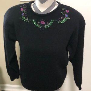 Herman Geist Sweater Hand Embroidered SZ M Black
